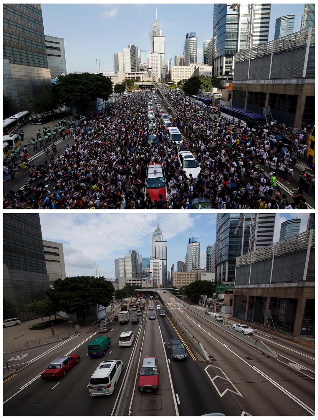 上圖為去年9月28日,大批示威者湧到金鐘的馬路上,當日稍後警方向示威者施放催淚彈。下圖為同一段金鐘馬路,攝於今年9月16日。攝:(上圖)Bobby Yip/REUTERS,(下圖)Tyrone Siu/REUTERS