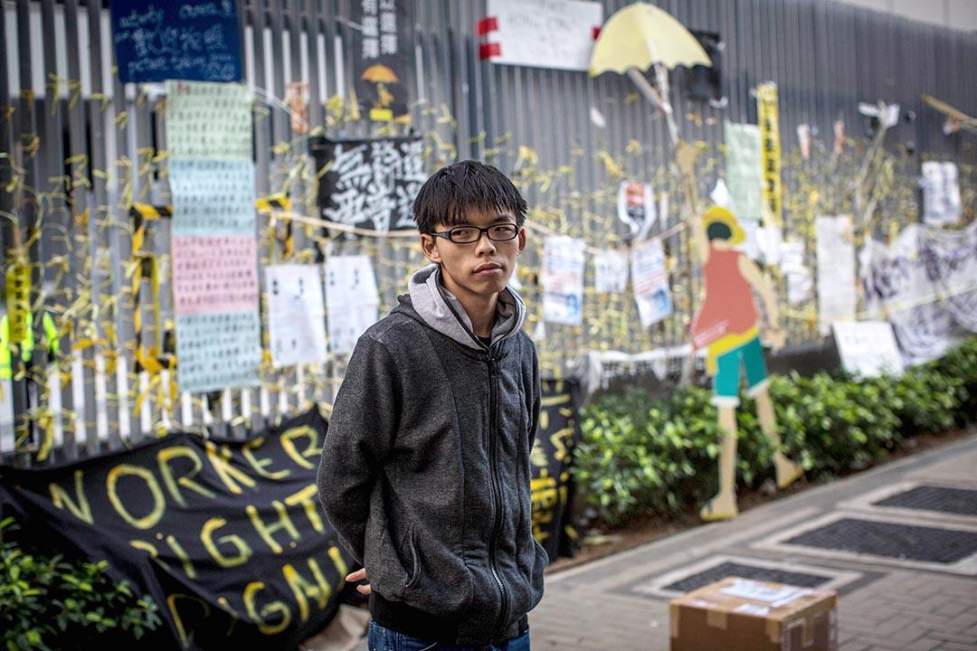 2014年,黃之鋒在雨傘運動中。攝: Chris McGrath/ Getty