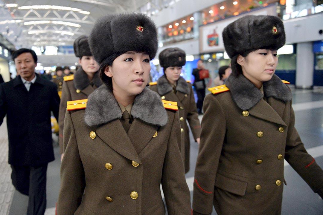 朝鮮牡丹峰樂團從北京首都機場返回平壤。攝 : Kyodo/REUTERS