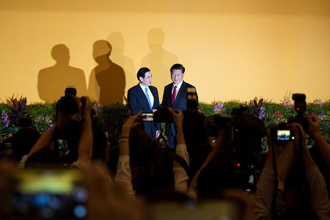 2015年11月7日,新加坡,馬英九與習近平於香格里拉酒店會面,大批記者到場採訪。攝:盧翊銘/端傳媒