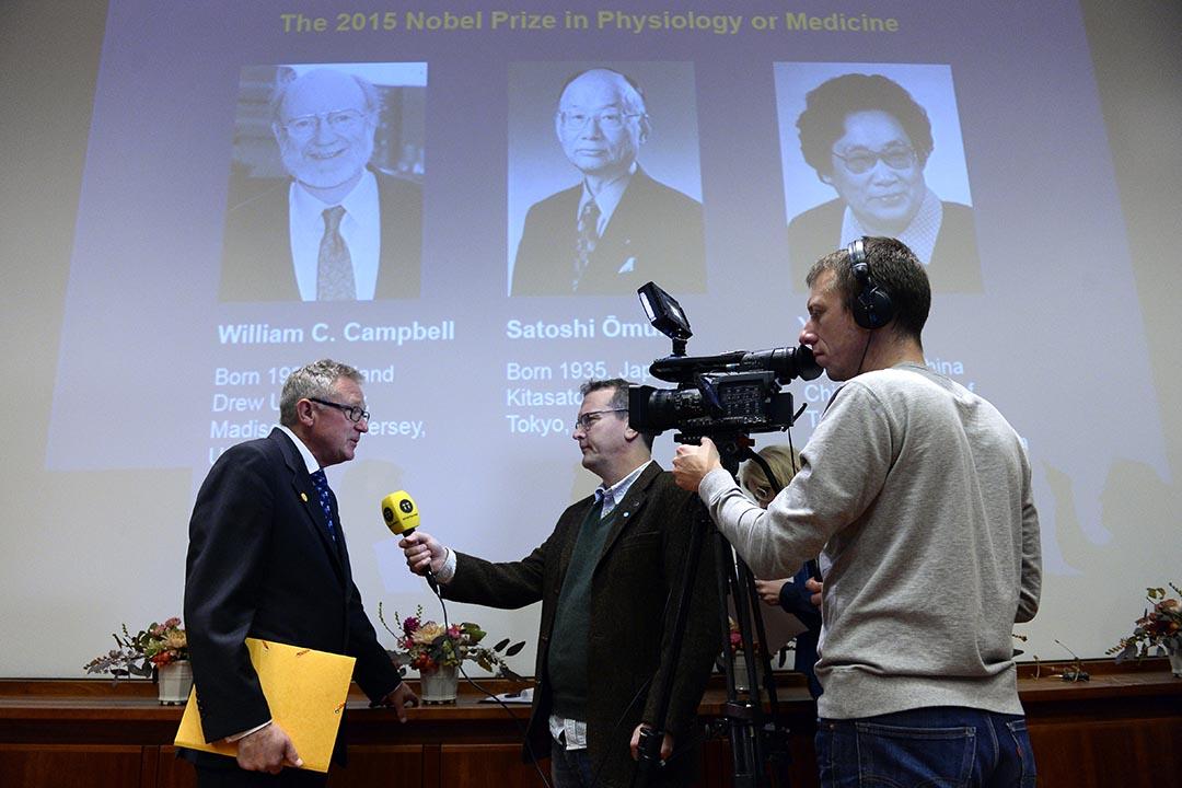 84歲的中國中醫科學院藥學家屠呦呦獲得2015年諾貝爾生理學暨醫學獎。攝:Jonathan/AFP