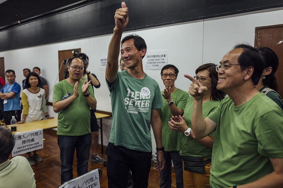 城鄉共生連線的姚松炎參選置富區議員,最終落敗。攝:Anthony Kwan/端傳媒