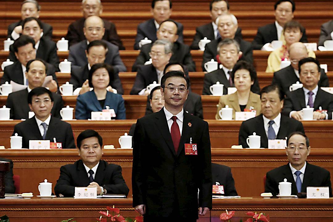 2016年3月13日,中國最高人民法院院長周強在人大會議上作出關於最高人民法院工作的報告。攝:China Daily/REUTERS