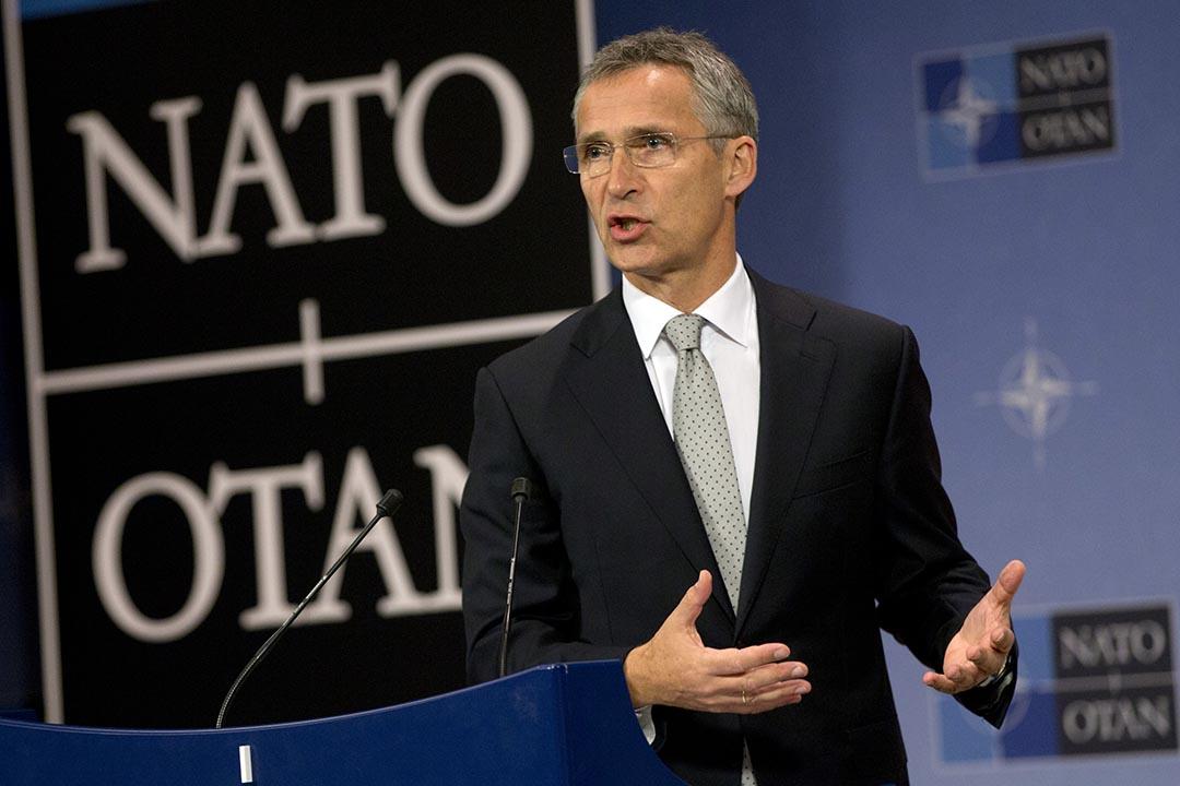 北約祕書長斯托爾滕貝格(Jens Stoltenberg)在布魯塞爾北約總部進行新聞發布會。攝:Virginia Mayo/AP