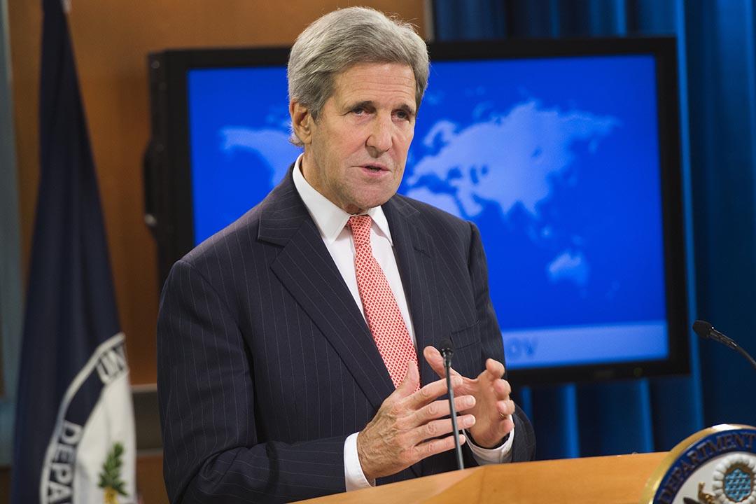 美國國務卿克里在國際宗教自由報告發表會上講話。攝 : Saul Loeb/AFP