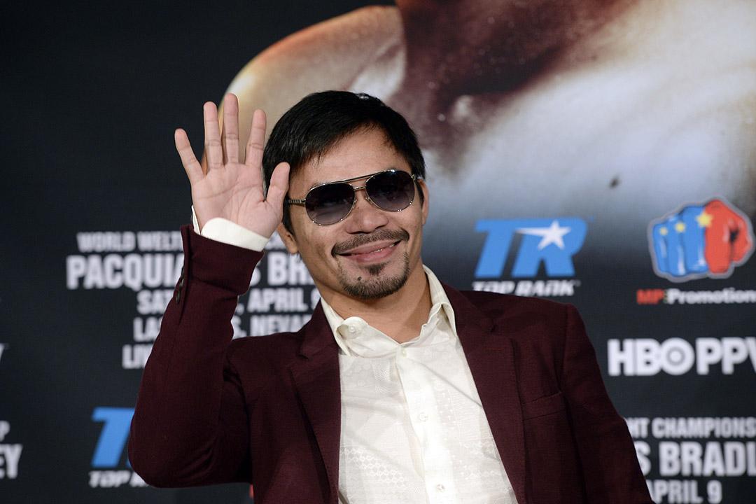 2016年2月19日,美國加州,菲律賓拳王帕奎奧(Manny Pacquiao)在比華利山(Beverly Hills)召開記者會,公布今年參與世界賽的安排。攝:Kevork Djansezian/GETTY