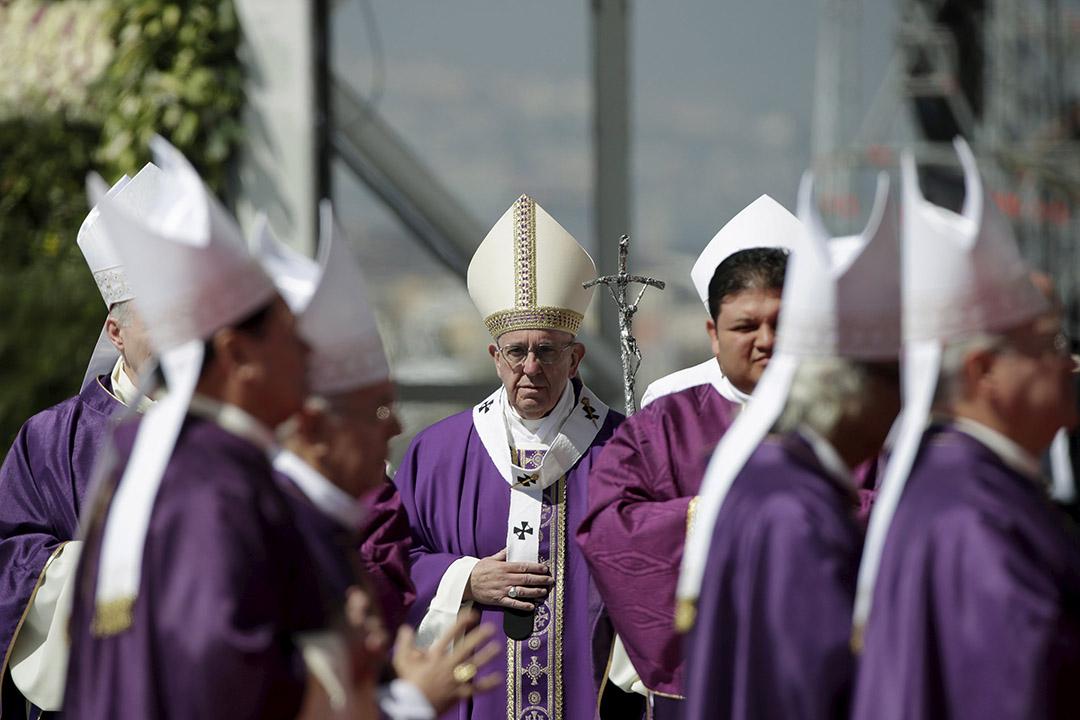 2月14日,天主教教宗方濟各(Pope Francis)在墨西哥埃卡特佩克市(Ecatepec)舉行大型彌撒。攝:Max Rossi/REUTERS