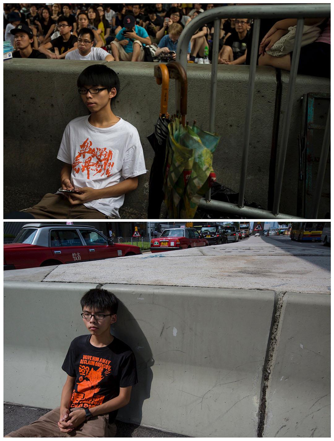 上圖攝於2014年10月4日,學民思潮發言人黃之鋒在金鐘佔領區演講後坐在路邊休息。下圖攝於今年9月18日,黃之鋒在同一位置拍照。黃之鋒認為雖然雨傘運動未能成功令香港爭取到真普選,「但我們仍上了寶貴一課,就是明白了要以抗爭去爭取民主、爭取普選。」攝:Tyrone Siu/REUTERS