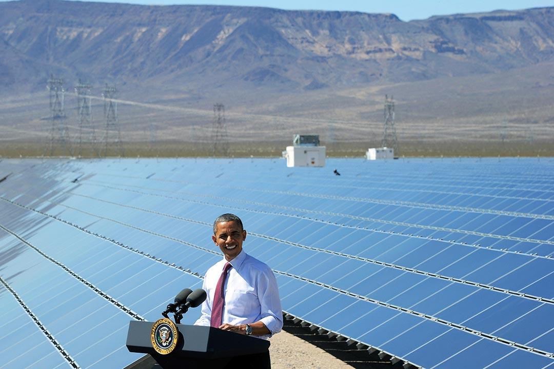 美國總統奧巴馬在美國能源公司 Sempra U.S. Gas & Power 於內華達州的光伏電站 Copper Mountain Solar 1 講話。攝 : Ethan Miller/Getty Images