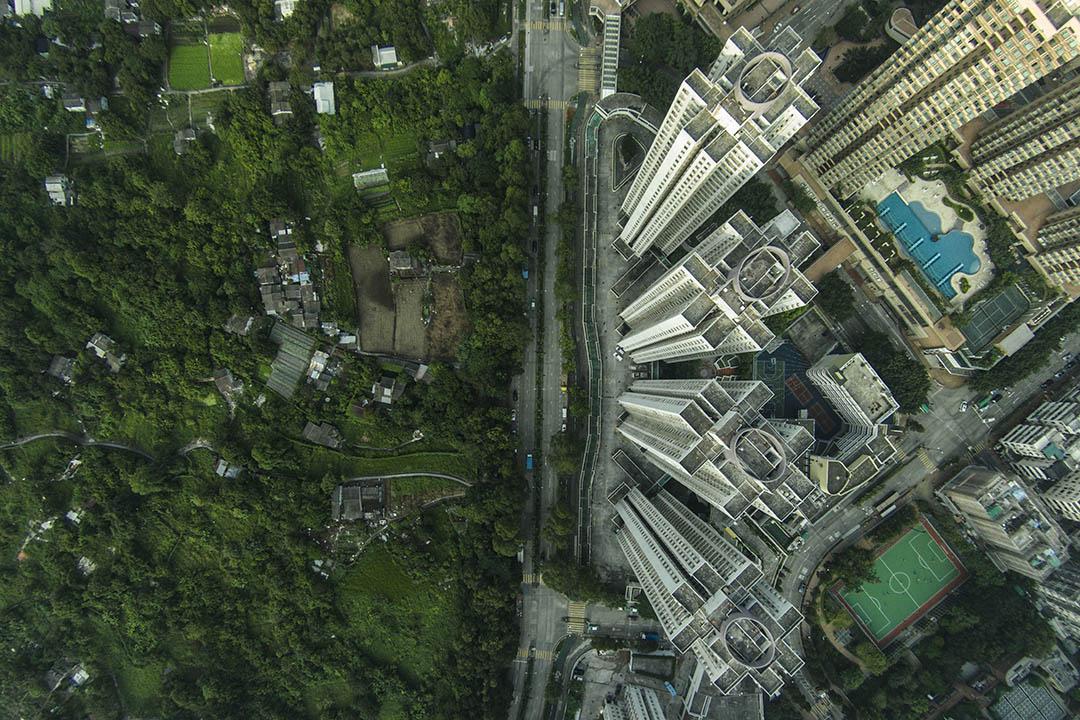 圖為香港高空拍攝的新界區。攝:林亦非/端傳媒