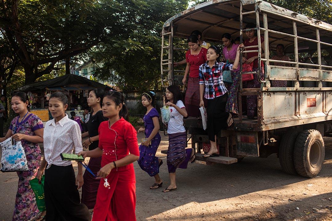 2015年11月7日,緬甸仰光,一班年輕女工乘坐貨車抵達工業區的一所製衣廠。攝:Lauren DeCicca/GETTY