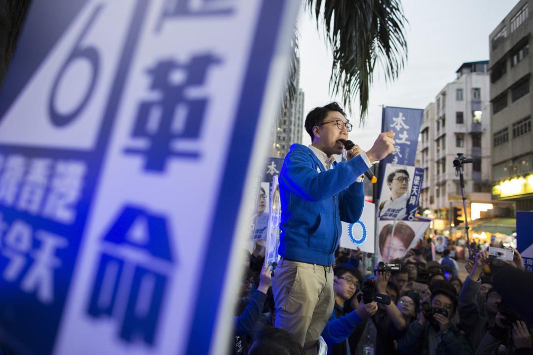2016年2月28日,補選投票日,梁天琦在大圍演講。攝:羅國輝/端傳媒