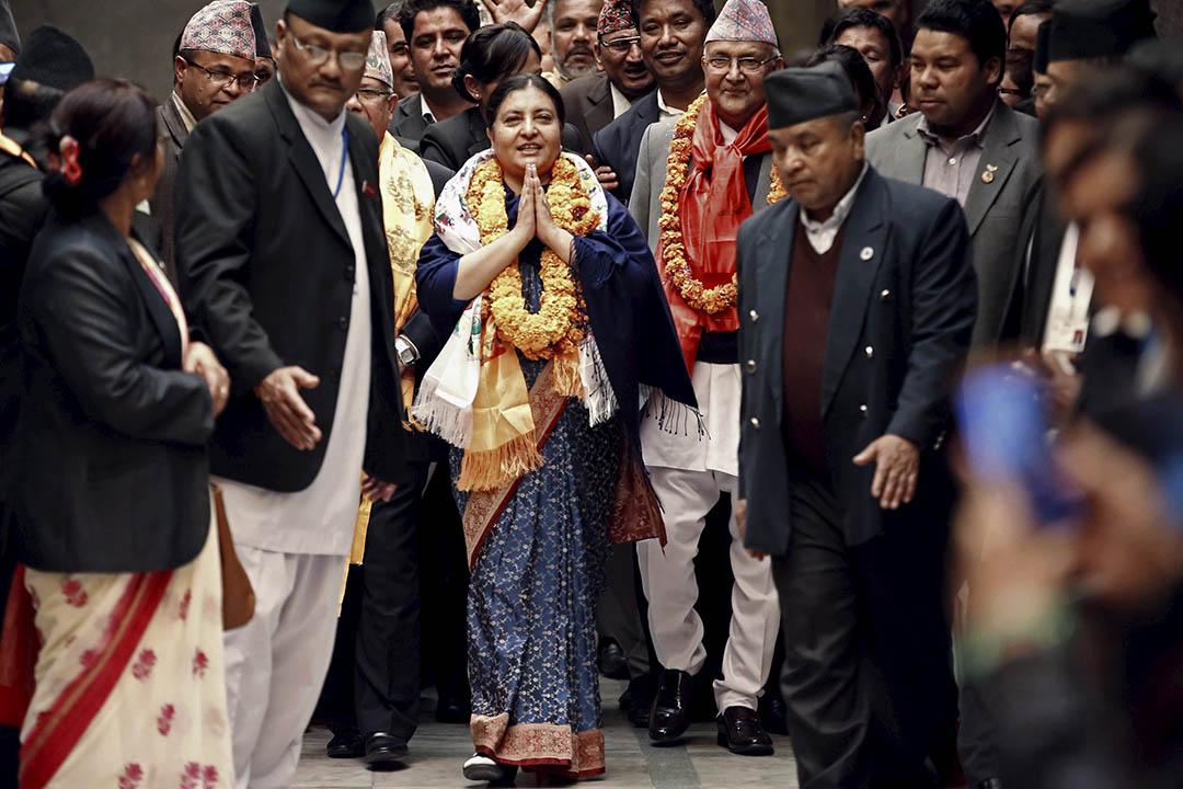 尼泊爾議會推選出該國歷史上首位女總統班達里(Bidhya Bhandari)。攝:NAVESH CHITRAKAR/Reuters