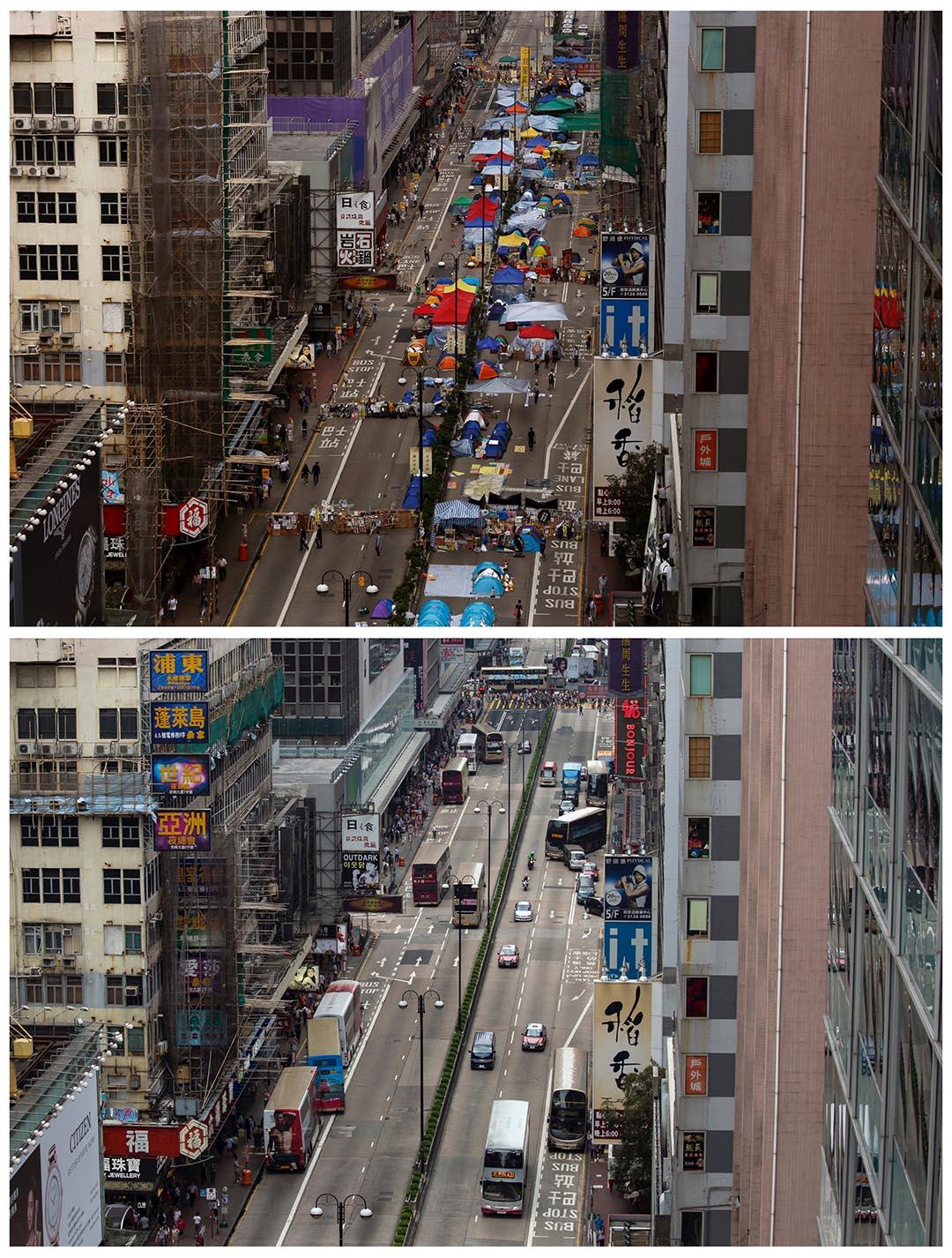 上圖為去年11月12日被佔領的一段旺角彌敦道。下圖攝於今年9月16日,同一段彌敦道。攝:(上圖)Bobby Yip/REUTERS,(下圖)Tyrone Siu/REUTERS
