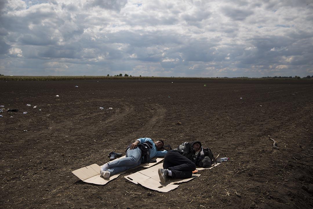 2015年9月8日,匈牙利,難民等候巴士前往收容所時在地上休息。 攝: Dan Kitwood/GETTY