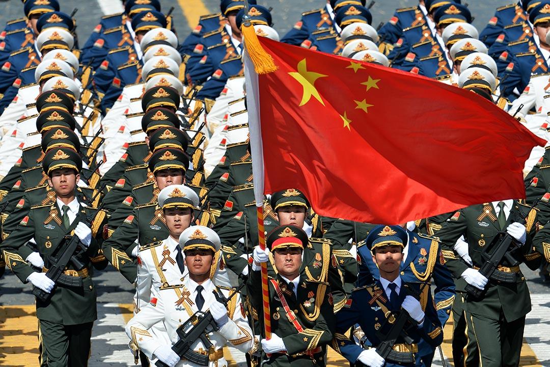2015年5月9日,莫斯科,中國解放軍出席俄羅斯紀念第二次世界大戰勝利70週年閱兵。攝:Host photo agency / RIA Novosti via Getty