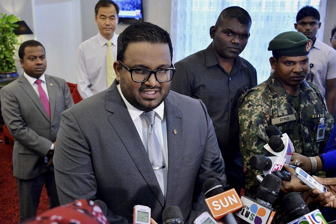 馬爾代夫副總統阿迪布(Ahmed Adeeb)近日因涉嫌暗殺總統被捕。攝 : Ali Naseer/Sun Media Group via AP