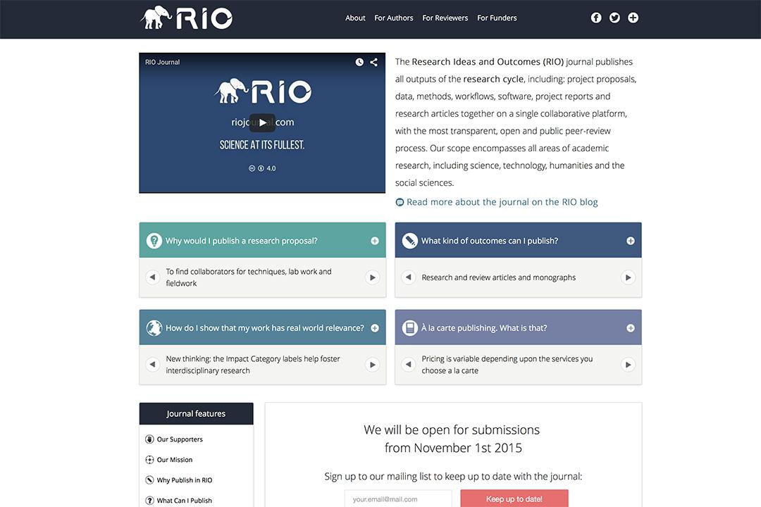 新期刊 Research Ideas & Outcomes(RIO)将打破传统学术出版规则,發掘好想法。RIO內頁截圖