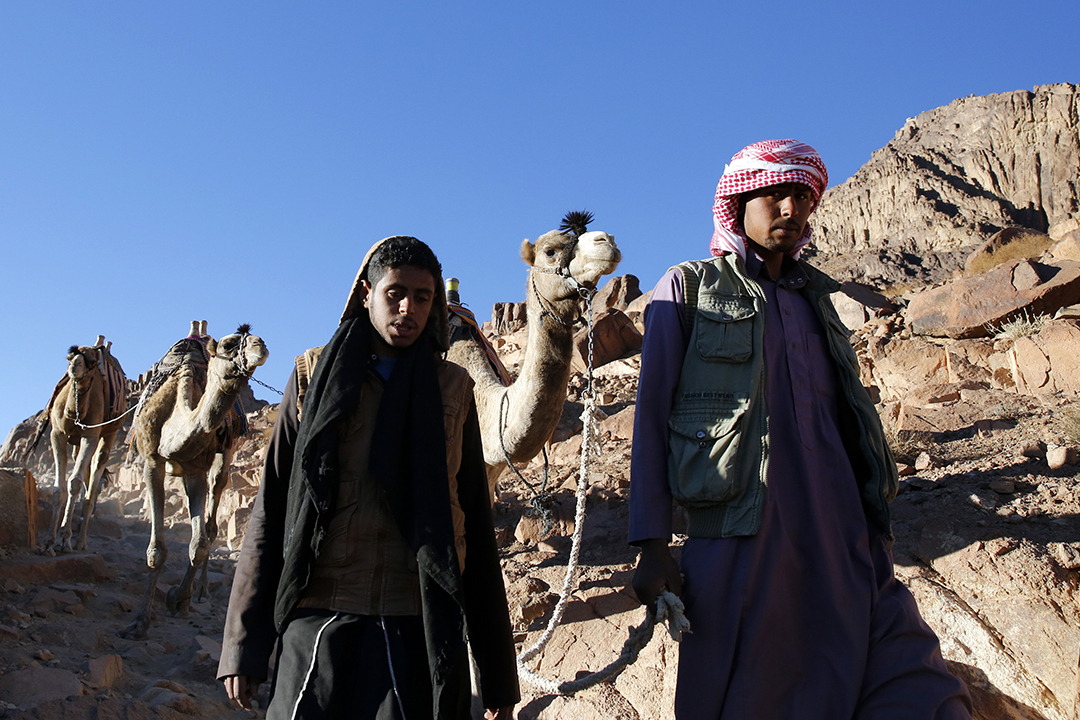 2015年12月9日,西奈山,嚮導帶領遊客由山頂步往山腳的聖凱瑟琳聖殿。攝:Amr Abdallah Dalsh/REUTERS