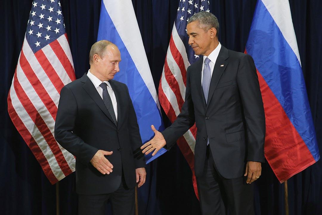 俄羅斯總統普京(左)和美國總統奧巴馬在紐約聯合國總部舉行會談。攝:Chip Somodevilla/Getty