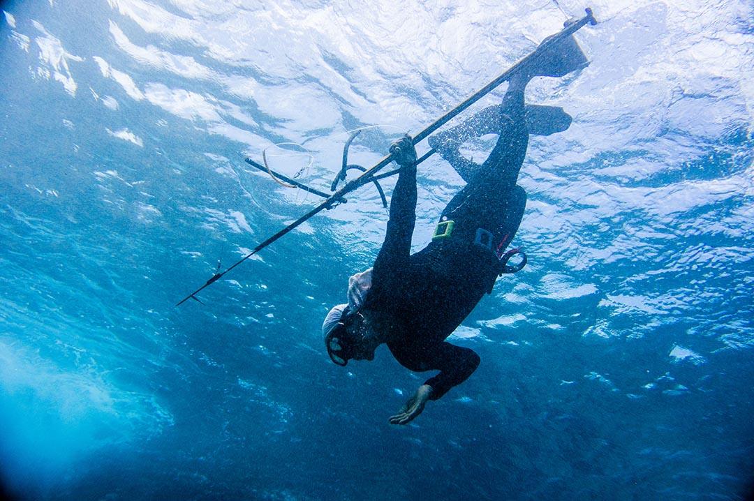 不需氣瓶,夏曼藍波安以自由潛水方式潛水射魚。 攝: 王文彥 /端傳媒