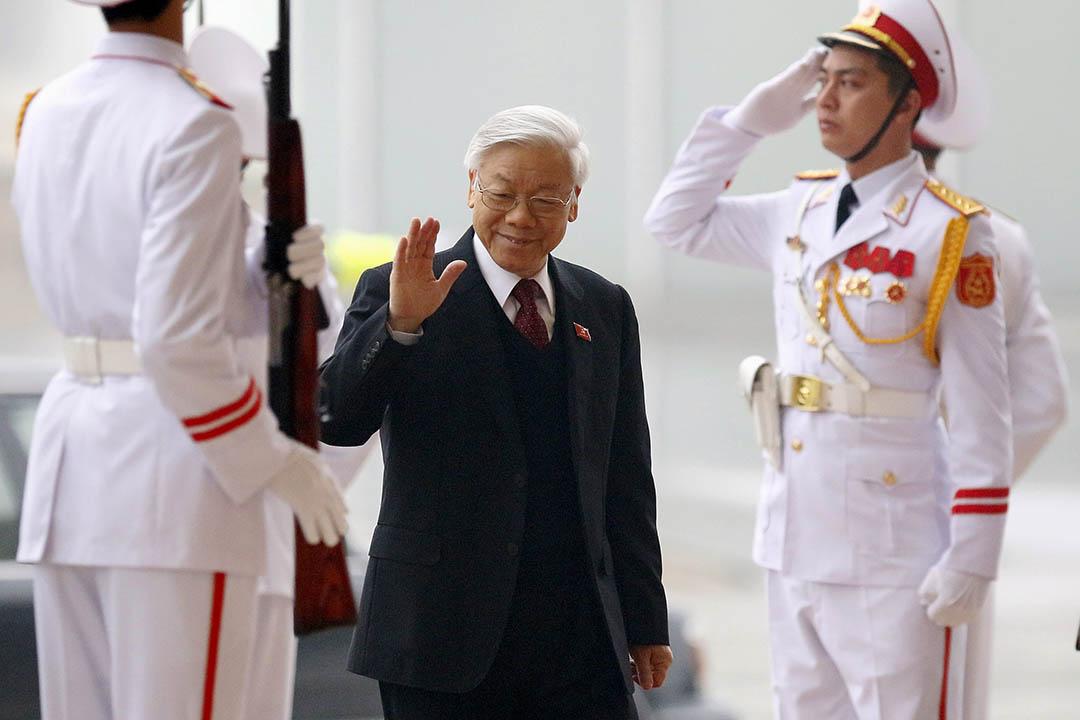 越共十二大閉幕,現任總書記阮富仲成功連任。攝:Luong Thai Linh/REUTERS/Pool