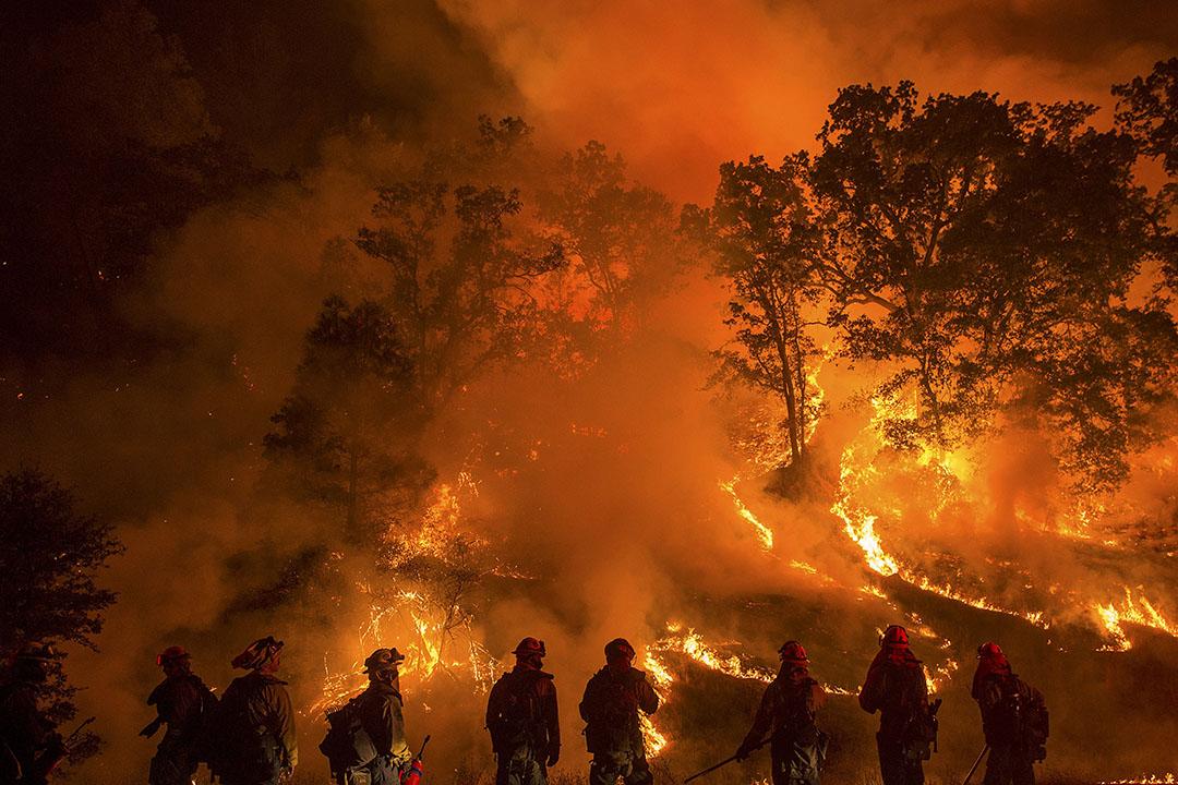 消防員在美國加州山區滅火,這場山林大火焚毀過百間民居和造成最少四名消防員嚴重燒傷。 攝: Noah Berger/REUTERS