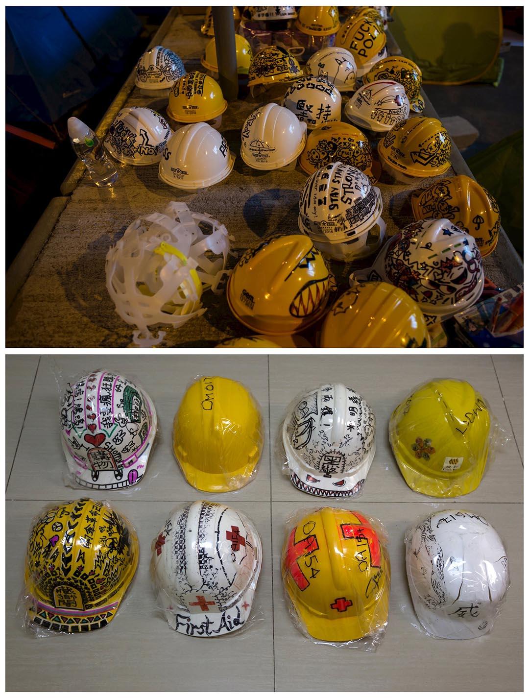 上圖攝於去年10月20日,在政府總部外擺放了一推示威者準備用於抗爭的頭盔。該批頭盔被示威者收藏,記者於今年9月23日為該批頭盔拍照。攝:Tyrone Siu/REUTERS