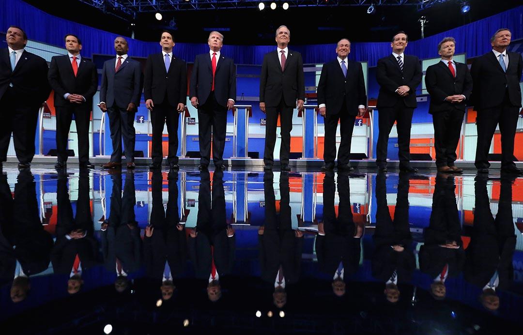 美國共和黨總統候選人初選前出席首次辯論。攝 : Chip Somodevilla/Getty Images