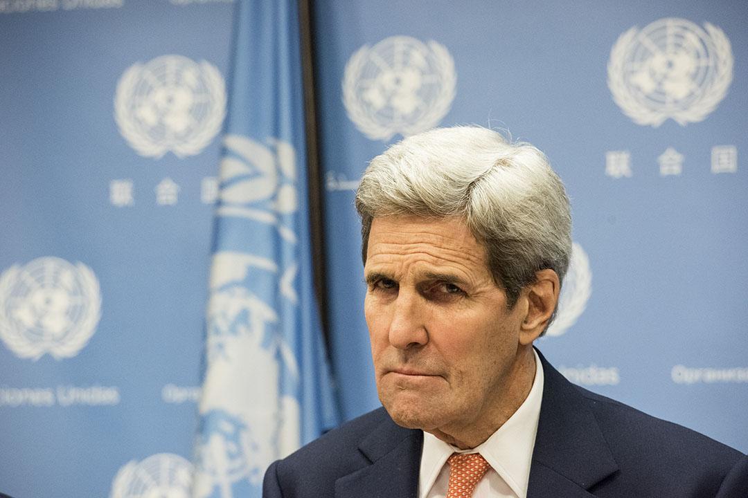 美國國務卿克里(John Kerry)宣布解除對伊朗實施的制裁。攝: Andrew Renneisen/GETTY