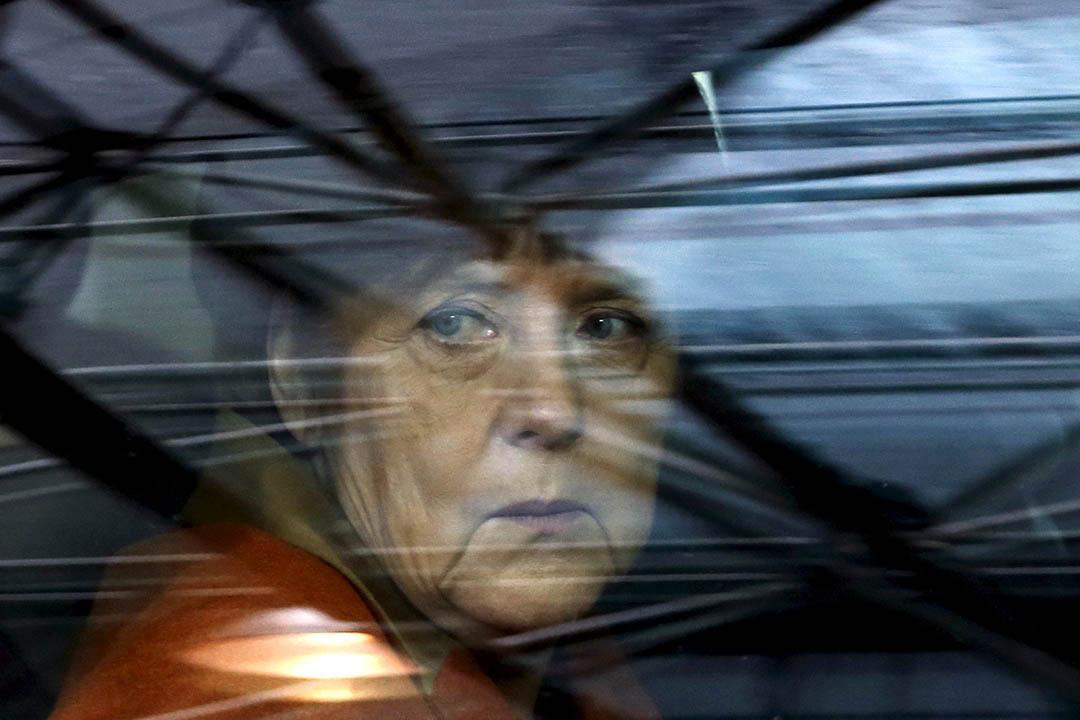 2016年3月7日,比利時,德國總理默克爾乘坐專車抵達布魯賽爾參與歐盟與土耳其聯合峰會。攝:Francois Lenoir/REUTERS