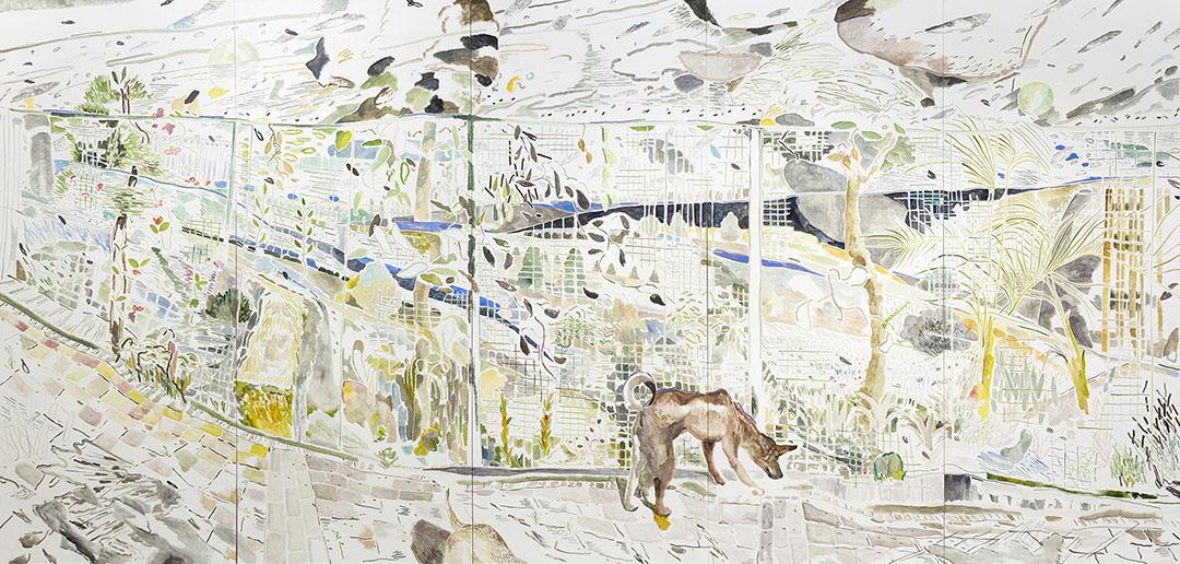 Doodood and Muimui Outside Namcheong Park, Oil on canvas, H240 x 500 cm, 2015。圖片由藝術家提供