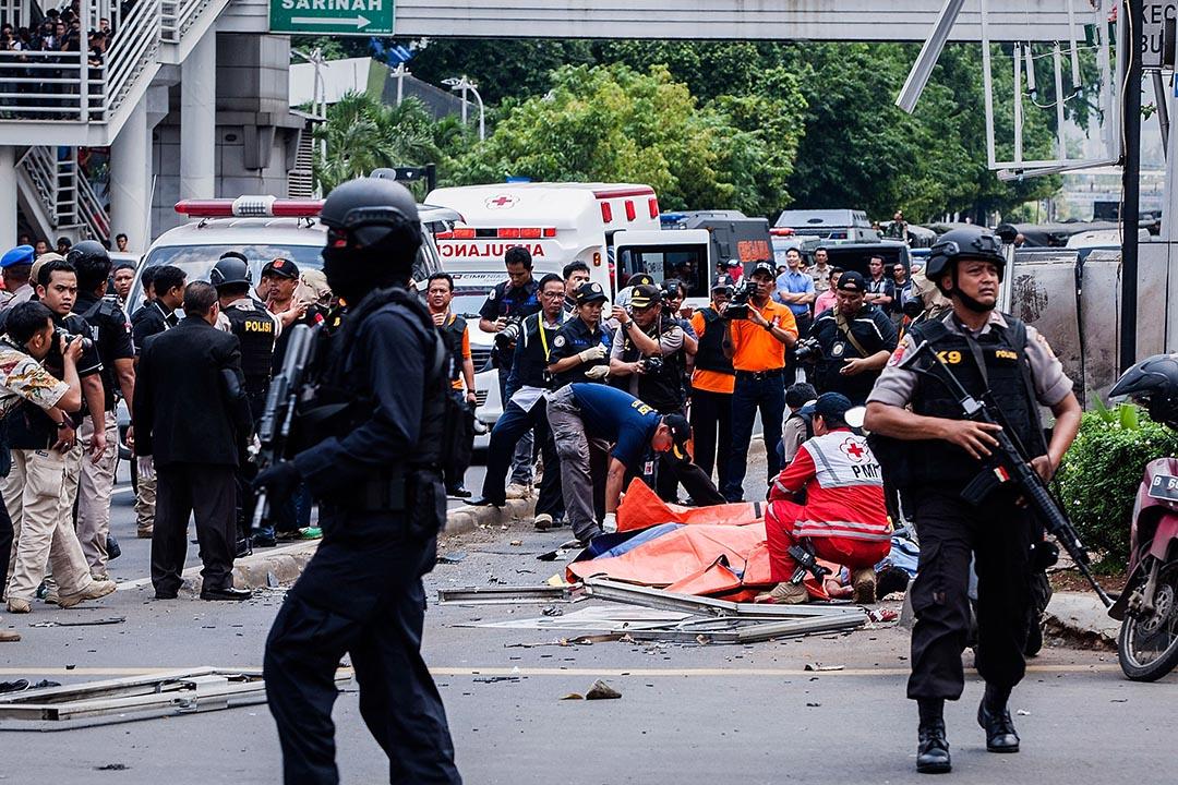 印尼首都雅加達發生連環爆炸。攝: Oscar Siagian/Getty