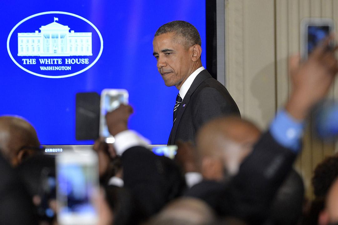 2月18日,美國總統奧巴馬簽署了國會於12日通過的法案,進一步加強對北韓的制裁。攝:Mike Theiler/GETTY