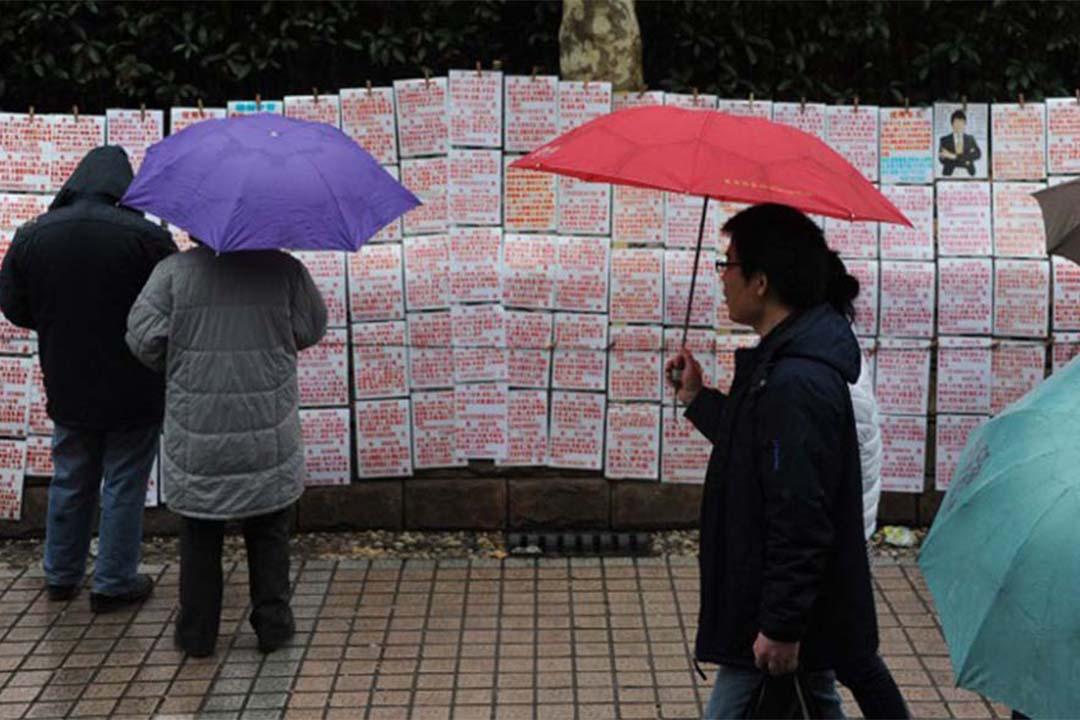 上海一個公園裡的角落貼滿相親信息。攝:ZOU HAIBIN / IMAGINECHINA