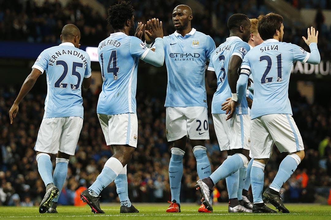 圖為2015年12月1日,英格蘭聯賽盃8強赛中曼城對侯城的賽事。攝:Action Images via Reuters
