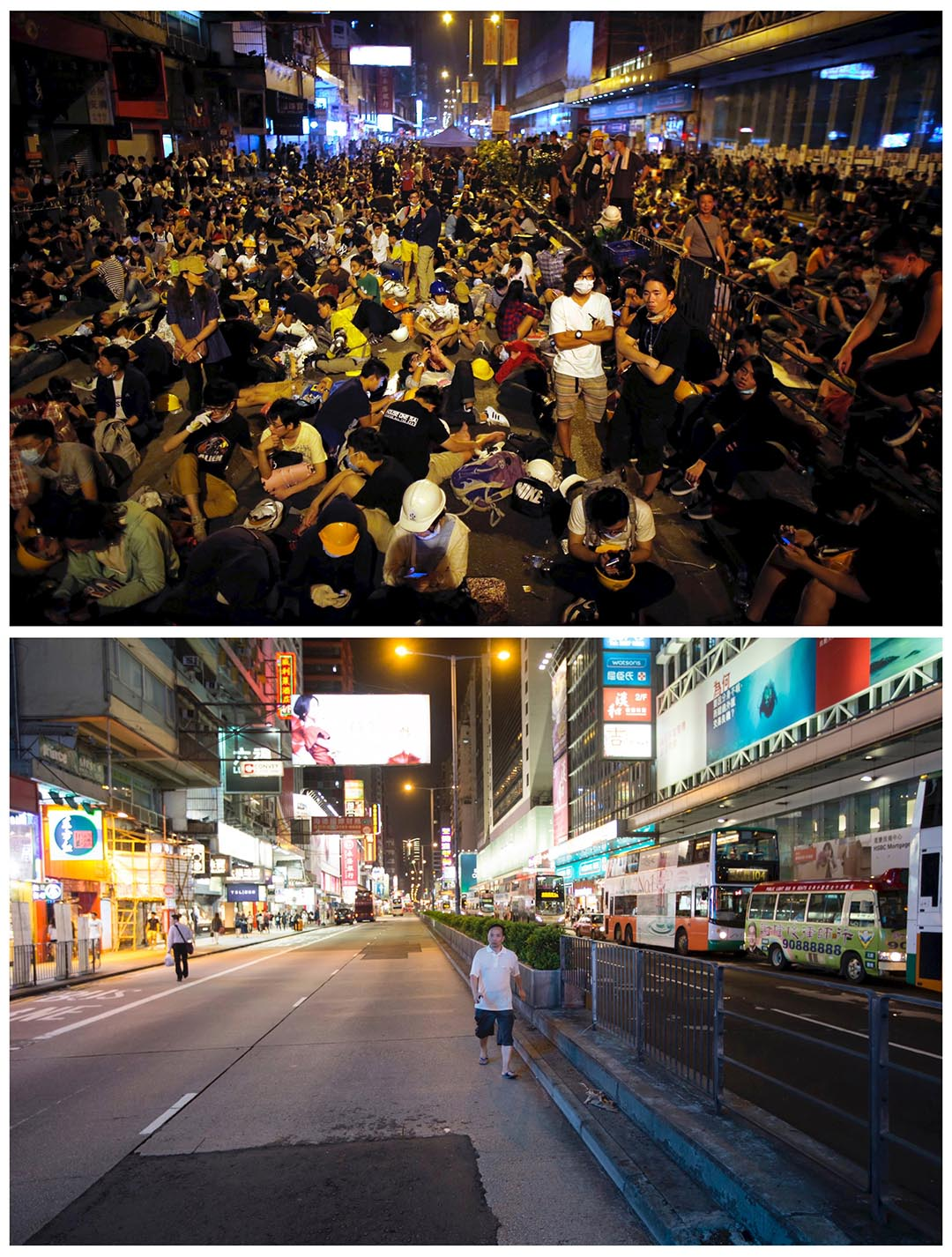 上圖攝於去年10月20日,爭取普選的示威者在旺角佔領區集會。下圖攝於今年9月16日,在旺角同一位置。攝:(上圖)Carlos Barria/REUTERS,(下圖)Tyrone Siu/REUTERS