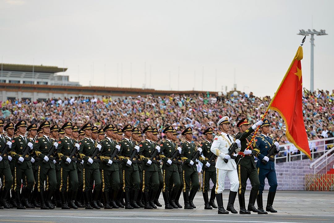 中國解放軍在彩排中國抗戰勝利70周年閱兵儀式。攝: Stringer/ REUTERS