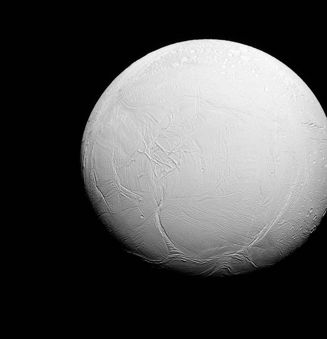NASA 探測器拍攝土衛二照片。攝:REUTERS/NASA/JPL-Caltech/Space Science Institute