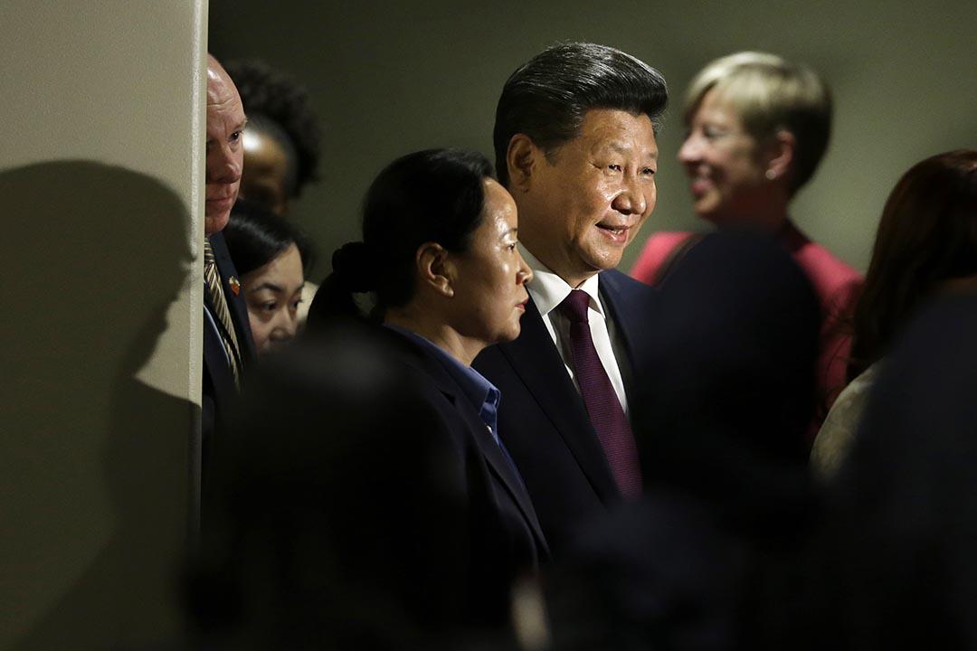 中國國家主席習近平在紐約聯合國總部主持全球婦女峰會。攝 : Seth Wenig/AP