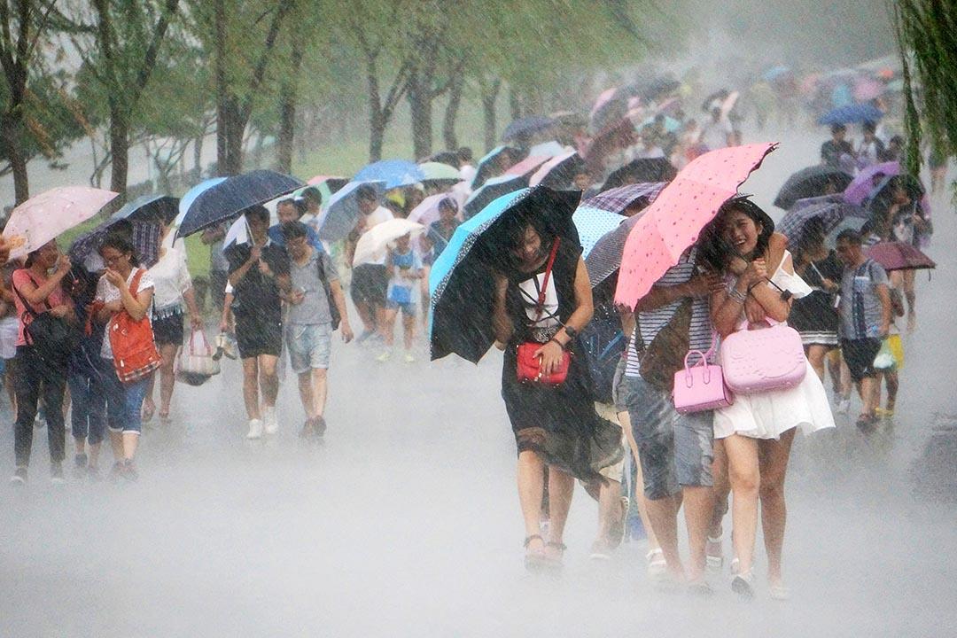 在中國浙江省的杭州,市民們拿著雨傘在風雨中行走。攝 : ChinaFotoPress/Getty Images