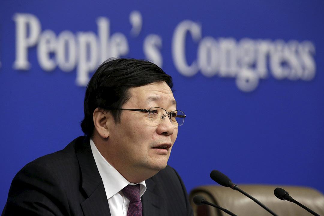 2016年3月7日,北京,中國財政部部長樓繼偉召開的「財政工作與財税改革」記者會。攝:Jason Lee/REUTERS