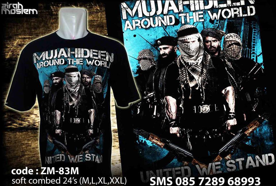 伊斯蘭國主題T恤和大幅海報。Facebook截圖