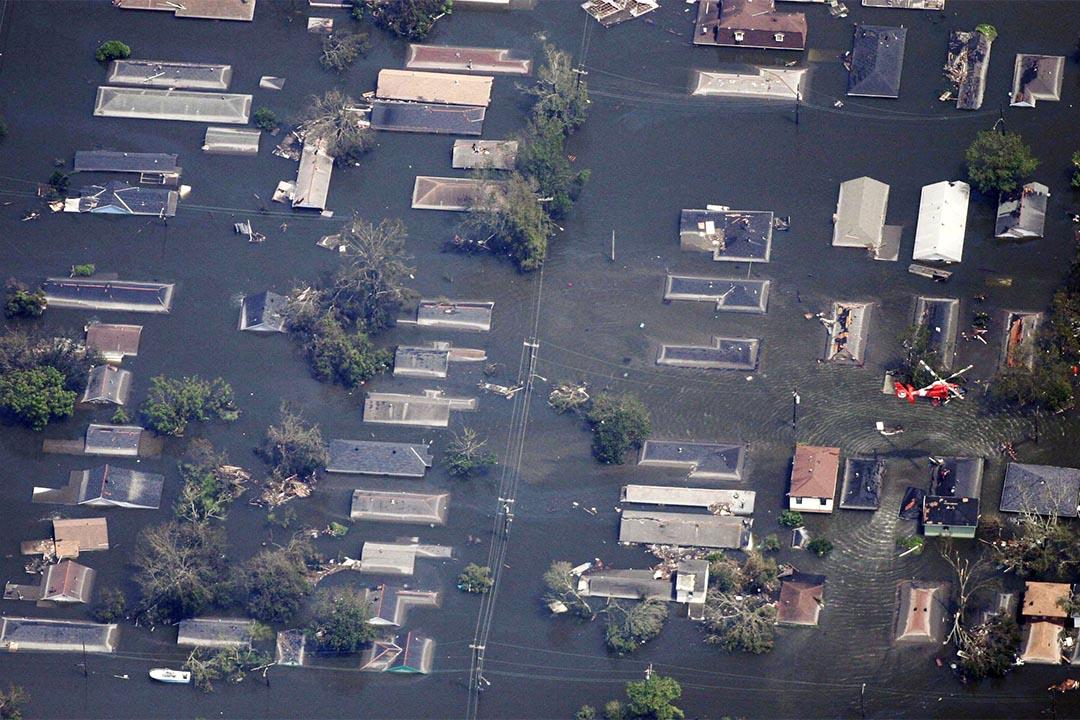 2005年,颶風卡特里娜吹襲美國路易斯安那州新奧爾良,造成嚴重破壞死亡人數逾1800人。攝:Dave Einsel/Getty
