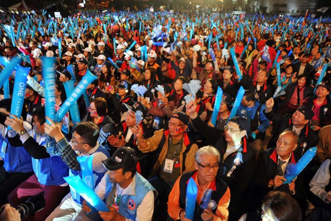 國民黨朱立倫的支持者在歡呼。攝: SANDY CHENG / AFP