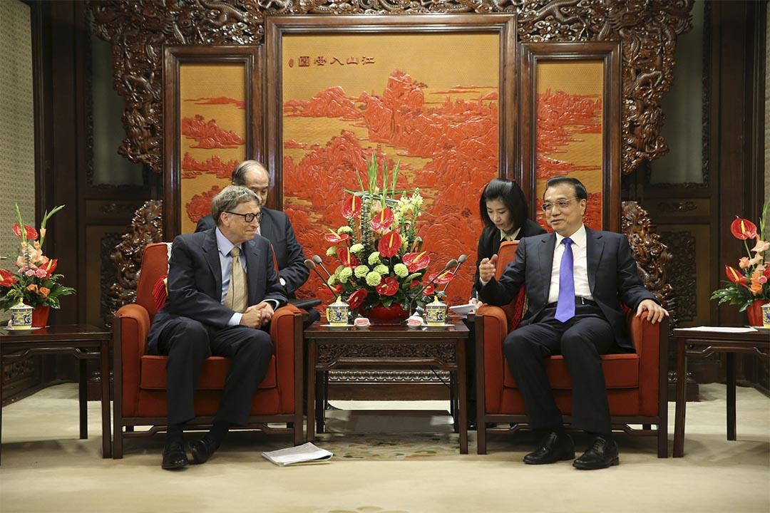 中國國務院總理李克強在北京會見美國泰拉能源公司(Terra Power)董事長比爾·蓋茲(Bill Gates)。攝 : REUTERS