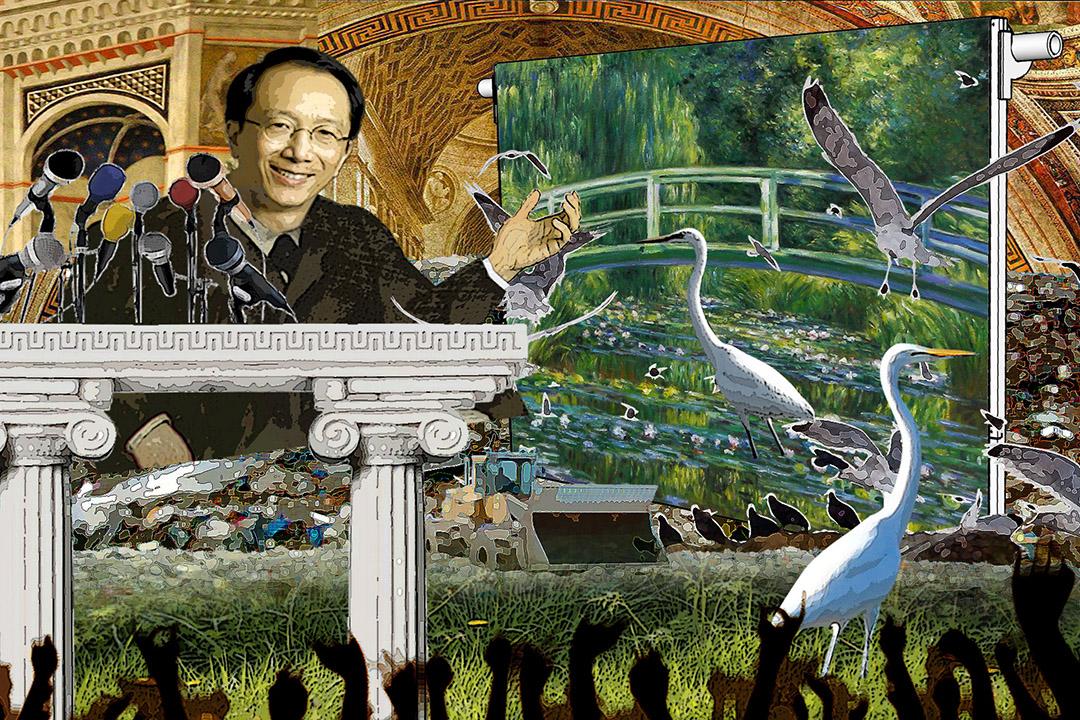 松叔叔宣布讓步,不開發郊野公園,全面在綠化帶起樓。插圖:Wilson Tsang/ 端傳媒