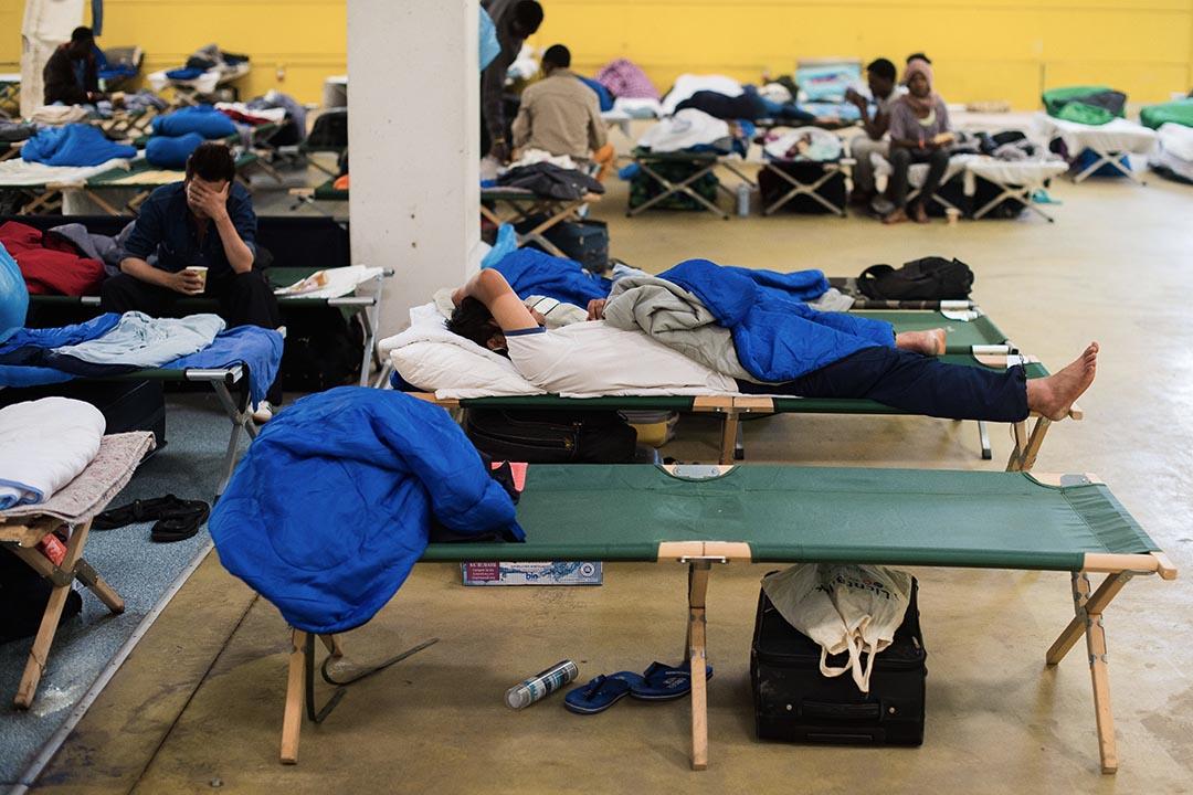 難民在德國漢堡一個臨時避難所居住。攝 : Daniel Bockwoldt/DPA/AFP