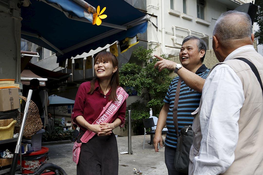 參選區議會選舉大坑選區的楊雪盈。攝:Tyrone Siu/Reuters