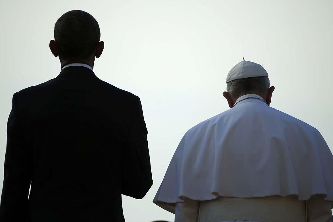 2015年9月23日 美國總統奧巴馬在一白宮與教宗方濟各會面。 攝 : Jonathan Ernst/ REUTERS
